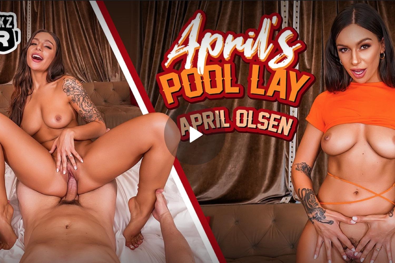 April's Pool Lay - April Olsen VR Porn - April Olsen Virtual Reality Porn